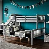 Lit superposé triple et double en bois massif pour enfants - Blanc et gris - Triple niveau supérieur - Simple niveau inférieur - Double (gris soie, triple superposé)