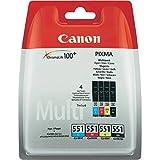 Canon CLI-551 Cartouche C/M/Y/BK Multipack Cyan, Magenta, Jaune, Noire (Multipack plastique Sécurisé)