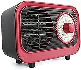 Réchauffeur en Céramique Rétro PTC, Chauffage Électrique Portatif Chauffage Rapide Aérotherme d'hiver Quick-Heat pour Chambre À Coucher, Bureau Et Intérieur,Rouge