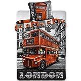 London Parure de lit Bus Rouge - Housse de Couette réversible lit 1 Personne