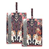 Hunihuni - Lot de 2 sacs de voyage pour chaussures de style indien, animal éléphant, cachemire - Étanches et portables - Avec fermeture éclair