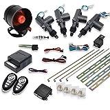 MASO Kit de verrouillage centralisé de voiture 4 portes sans clé + système antivol d'alarme antidémarrage avec capteur de chocs universel compatible avec tous les modèles Ca