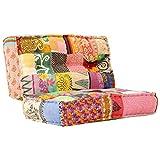 Festnight Canapé Patchwork Multicolore Sofa de Salon Tissu 120x120x20 cm
