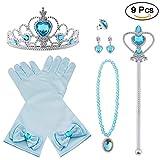 Vicloon 9pcs Princesse Dress Up Accessoires Filles Diadème/ Baguette Magique/ Collier/ Gants /Bague/Boucles d'oreilles pour Cosplay Carnaval Fête d'anniversaire Carnaval 3-8 Ans (Bleu)