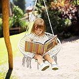 Surophy Hamac chaise Macramé Swing,Petite balançoire pour 2-16 enfants et adolescent,100% fait main&corde de coton,pour intérieur, extérieur, jardin, patio, porche, cour, chambre à coucher (100kg)