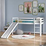 SANGDA Lit superposé en bois avec échelle et toboggan réglables, cadre de lit cabane pour enfant avec toboggan en bois pour bureau, dortoir, école, maison