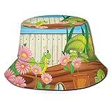 FULIYA Chapeau bob en polyester, motif fleurs de cerisier japonaises, inspiration printanière, chapeau à large bord pour femme, homme, adolescent - - Taille Unique