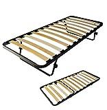 sardamaterassi Sommier à lattes en bois pour lit simple 80 x 190 cm avec pieds, amovible et escamotable, pour lit anti-grincement.