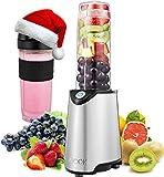 Aicok Mini Blender Portable Blender Smoothie Mélangeur de Fruits pour Smoothie, Milk-shake,Jus de Fruits, Mixeur Electrique Multifonction de 600 ml, Sans-BPA et Corps en Inox