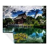 Plaid motif jardin chinois Montréal Botanique - Pour canapé ou lit - 150 x 200 cm - Couverture en polaire douce - Lavable et facile d'entretien