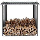 mewmewcat Storage Shelter, Wood Firewood Shelter Abri de Jardin Stockage en Acier Galvanisé 172x91x154 cm Gris