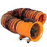 SucceBuy 220V Ventilateur Industriel Portable Axial de Diamètre 250mm Extracteur d'Air Electrique Souffleur Commercial Conduit en PVC de 10m(10″ avec conduit)