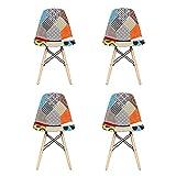 EGOONM Lot de 4 Chaise de Salle à Manger Multicolor Patchwork,Chaises en Tissu de Lin Loisirs Salon,Chaises avec Dossier à Coussin Souple (Bleu Gris Orange)