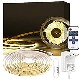 Lumières de Bande LED COB Blanc 4000K, PAUTIX 3m Lumières de Ruban LED Flexible , Kit d'éclairage à intensité variable CRI80 + haut de gamme avec télécommande RF pour armoire de cuisine