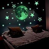 Lamdgbway Stickers phosphorescents Motif étoiles et lune Pour chambre d'enfant Décoration murale