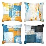 Daesar Taie d'oreiller, Coussin 40x40 Lot de 4 Orange Bleu Blanc Coussin Décoratif Treillis Geometrique, Polyester