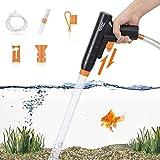hygger Nettoyeur Gravier Aquarium, Rapide Aquarium Changeur l'eau avec Bouton à Pression, Air Kit Nettoyage Gravier avec Siphon pour Sable Aquarium (Orange)