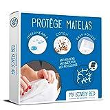 My Lovely Bed - Protège Matelas 80x190/200 cm   Alèse Imperméable et Anti Acarien   Souple et Silencieux - Molleton 100% Coton