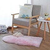 KAIHONG Faux Peau de Mouton en Laine Tapis (60 x 90 cm) Imitation Toison Moquette Fluffy Soft Longhair Décoratif Coussin de Chaise Canapé Natte (60 x 90cm, Rose)