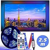 Diyife Ruban LED 2.5M, TV Bande de Lumière Etanche Rétroéclairage 5050RGB Alimenté par USB, Éclairage D'accent 75 LED Multicolore Néon, RF Télécommande, 20 Couleurs Statiques & 22 Modes Dynamiques