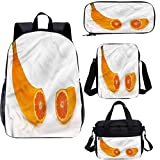 Ensemble sac à dos d'école et sac à déjeuner surréaliste 43 cm en forme de banane Orange 4 en 1