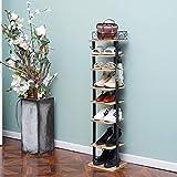 X-cosrack Étagère à chaussures, 8 niveaux réglables avec crochets, 8 paires de chaussures en bois rustique et métal pour entrée et couloir
