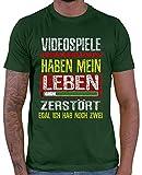 HARIZ T-shirt pour homme Jeu vidéo 2 vie Carte cadeau Gaming Plus - Vert - X-Large