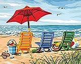 Kit de broderie au point de croix estampillé à faire soi-même - Chaises longues de plage d'île - Gamme Complète de Kits de Démarrage Pour Débutants 40x50 cm