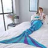 HLKODS Couverture sirène Queue Couverture au Crochet Couverture sirène Convient pour Quatre Saisons Sleeping Girl Wearable Blanket (Lake Blue),Lakeblue,90 * 190cm