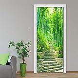 BXZGDJY 3D Wall Sticker Autocollant Art Decor Vinyle Mural Amovible Poster Scène Fenêtre Porte Escalier De Forêt De Bambou De 95X215Cm