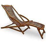 Deuba Chaise Longue en Bois Dur d'acacia inclinable pour Jardin terrasse avec Coussin de tête Inclus