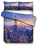 Sticker Superb Housse de Couette de Moderne Ville Modèle New York Hong Kong Sydney Paris Houston Toronto Scène de Nuit Microfibre Parures de Lit, Single (New York, 140_x_200_cm)