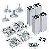 Emuca 2031862 Pieds réglables pour meuble/armoire/canapé en Aluminium, Anodisée Mat, H 150-160mm, Set de 4 Pièces