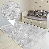 Tapis Salon Shaggy - Descente de lit Chambre Grande Taille Tapis Poils Longs Moderne tapid Moquette Poil Long tapi (Gris Clair, 200 x 300 cm)