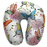 Oreiller en Forme de U Cou Flying Butterfly Texture Voyage Oreiller Multifonctionnel Avion de Voiture