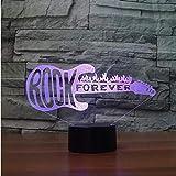 Musique Rock Crazy Band Cool motif de fleur basse guitare chanteur 3D veilleuse belles couleurs à langer lampe de Table chambre décor saint valentin enfants cadeau