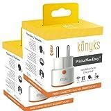 Prises connectées Konyks Priska Max Easy FR - Lot de 2 - WiFi + Bluetooth, 16A, 3680W, compteur de consommation, compatible Alexa et Google Home, automatisations faciles