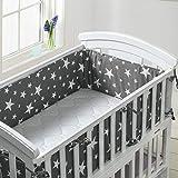Luchild Tour de lit Protection avec schärpen multicolores Protection de tête nid gardelinge pour lit de bébé ours sur l' échelle (360cm, Gris)