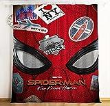 lubenwei Rideau de Bande dessinée Spiderman Hero expédition Rideau occultant fenêtre cantonnière Rideaux pour Salon Chambre décoration 180(H) x125(W) Cmx2 Panneaux/Ensemble (B-697)