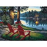 Kits de peinture diamant pour adultes, chaise longue longue longue 5D ronde à faire soi-même, parfait pour la relaxation et la décoration murale de la maison, 40 x 49,8 cm