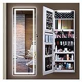 Even Armoire à bijoux avec miroir LED, armoire à bijoux murale avec miroir sur toute la longueur, verrouillable avec miroir, organiseur à bijoux à suspendre sur la porte, 2 tailles