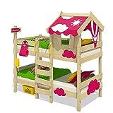 WICKEY Lit superposé CrAzY Daisy Lit enfant Lit mezzanine avec toit, fenêtre, echelle d'escalade et sommier à lattes, bâche rose, 90x200 cm