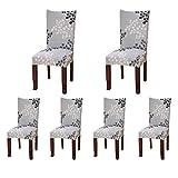 Sinderay Lot de 6housses de protection pour chaises de salle à manger courtes et étirables en élasthanne doux pour maison, fêtes, hôtels, mariages Motifs imprimés