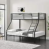 [Neu.Haus]®] Cadre de lit superposé en métal Armature Massive pour 3 Personnes 210cm x 147,5cm x 168cm Noir