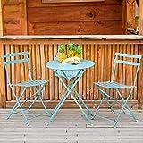 Amagabeli Ensemble Bistro de 1 Table(H90 x D75cm) et 2 Chaises(H83 x W42 x D38cm) Salon de Jardin Pliable en Métal Costume Parfait pour Balcon Terasse et Jardin Imperméable Bleu Clair