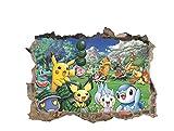 GLEDO -Autocollant mural/Stickers muraux de bande dessinée Stickers muraux Pokemon Stickers de décoration de chambre d'enfants (45 * 60CM)