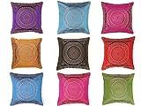 indien fait main en soie décoratif brocart maison et salon décor taie d'oreiller travail de broderie soie Boho Chic Bohème Throw canapé taie d'oreiller housse de coussin Mandala (10 Pc)