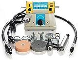 Bodhi, divers types de bricolage, polisseuse d'établi Machine de polissage de bureau 350W Machine de meulage et de gravure de bureau Ensemble d'outils électriques Mini machine à tampons de polissage d