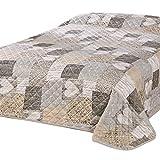 Delindo Lifestyle® Herzen Jeté de lit pour lit double Motif patchwork avec cœurs Marron 220x 240cm