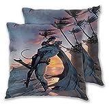 Lot de 2 housses de coussin Motif Batman et Catwoman Hug and Kiss Sunset by The Sea pour canapé-lit, chaise décorative 40,6 x 40,6 cm